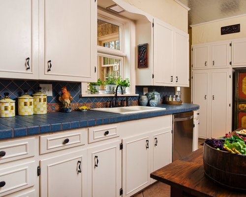 Superb Elegant Kitchen Photo In Dallas With Tile Countertops, A Drop In Sink, Blue
