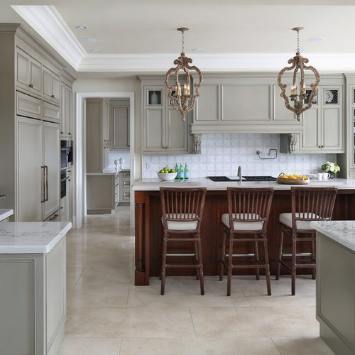 Example Of A Transitional U Shaped Beige Floor Kitchen Design In San  Francisco With Recessed