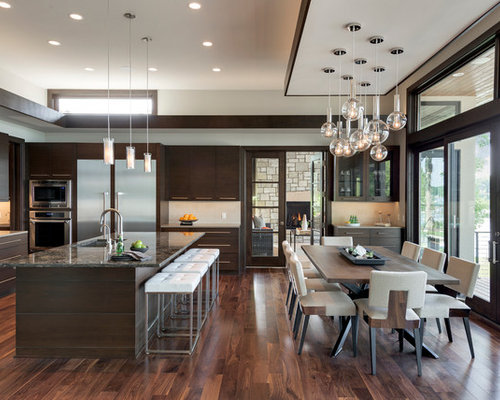 Open kitchen to dining room houzz - Cocinas blancas con granito ...