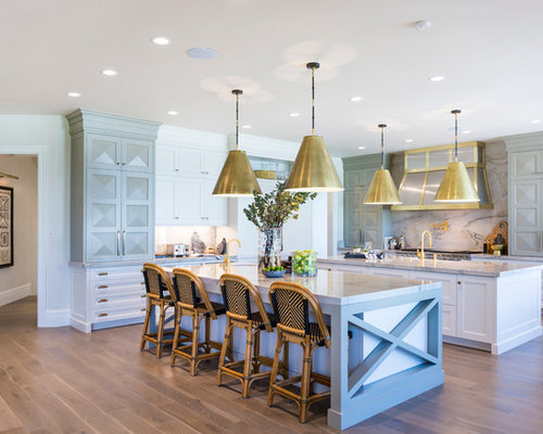 Huge Transitional Kitchen Designs Example Of A L Shaped Medium Tone Wood