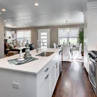 Esempio di una piccola cucina chic con lavello sottopiano, ante in stile shaker, ante bianche, top in granito, paraspruzzi blu, paraspruzzi con lastra di vetro, elettrodomestici in acciaio inossidabile, parquet scuro e isola