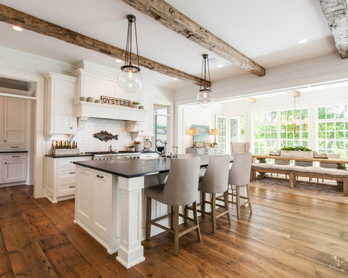 Charmant Farmhouse Open Concept Kitchen Pictures   Inspiration For A Farmhouse  Galley Medium Tone Wood Floor And