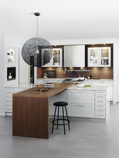 k chen mit laminat arbeitsplatte und betonboden ideen design bilder houzz. Black Bedroom Furniture Sets. Home Design Ideas