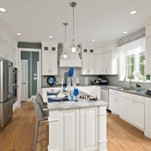 Beach style kitchen appliance - Kitchen - beach style light wood floor kitchen idea in New York with an undermount sink, white cabinets, concrete countertops, gray backsplash, stainless steel appliances, an island and raised-panel cabinets
