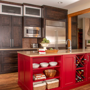 Inspiration for a transitional u-shaped open plan kitchen in Other with an undermount sink, dark wood cabinets, with island, brown floor, beige benchtop, shaker cabinets, brown splashback, matchstick tile splashback, stainless steel appliances and dark hardwood floors.