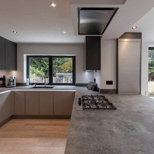 ハートフォードシャーの中くらいのモダンスタイルのおしゃれなコの字型キッチン (ドロップインシンク、落し込みパネル扉のキャビネット、コンクリートカウンター、グレーのキッチンパネル、御影石のキッチンパネル、シルバーの調理設備、ラミネートの床、グレーのキッチンカウンター) の写真
