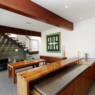 Idées déco pour une cuisine ouverte moderne avec un plan de travail en inox, un placard à porte plane et des portes de placard en bois sombre.