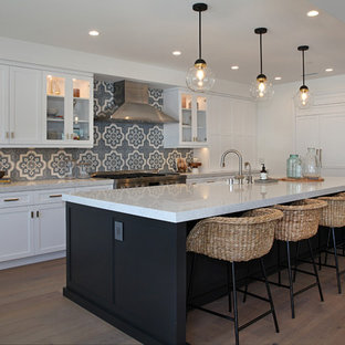 75 Most Por Beach Style Kitchen with Cement Tile Backsplash ... Beachy Kitchen Ideas Light Grey Cabinets on beachy grey bathroom, beachy grey furniture, beachy grey bedroom,