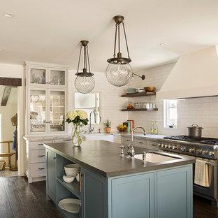 Foto di una cucina a L mediterranea chiusa con lavello sottopiano, ante di vetro, ante bianche, paraspruzzi bianco, elettrodomestici in acciaio inossidabile, parquet scuro e isola