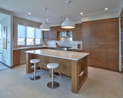 Contemporary u shaped kitchen design ideas renovations for Anigre kitchen cabinets