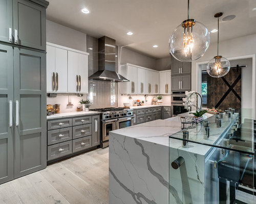Mid Sized Transitional Open Concept Kitchen Photos Inspiration For A