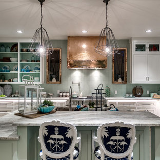 Beach Style Eat In Kitchen Liance Example Of A Coastal L Shaped Light