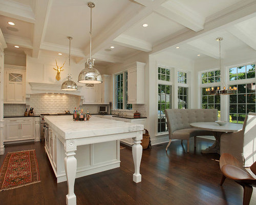 Traditional U Shaped Eat In Kitchen Idea In Chicago With Recessed Panel  Cabinets