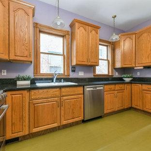 ボストンの広いトラディショナルスタイルのおしゃれなキッチン (ドロップインシンク、レイズドパネル扉のキャビネット、中間色木目調キャビネット、御影石カウンター、シルバーの調理設備、アイランドなし、緑の床、黒いキッチンカウンター) の写真