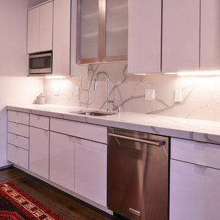ボストンの小さいエクレクティックスタイルのおしゃれなキッチン (アンダーカウンターシンク、フラットパネル扉のキャビネット、白いキャビネット、クオーツストーンカウンター、白いキッチンパネル、石スラブのキッチンパネル、シルバーの調理設備の、濃色無垢フローリング、アイランドなし、茶色い床、白いキッチンカウンター) の写真