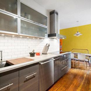 ニューヨークの広いコンテンポラリースタイルのおしゃれなキッチン (アンダーカウンターシンク、フラットパネル扉のキャビネット、グレーのキャビネット、珪岩カウンター、白いキッチンパネル、セラミックタイルのキッチンパネル、シルバーの調理設備、無垢フローリング、アイランドなし、赤い床、グレーのキッチンカウンター) の写真
