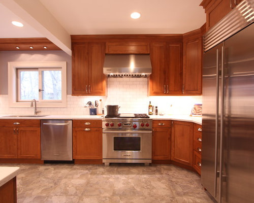 Medium Maple Cabinets with Stainless Steel Professional ...