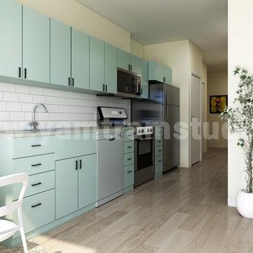 Mid-century style Open Kitchen with Living Room idea