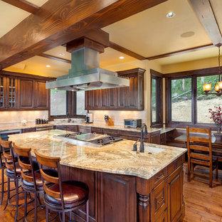 Timeless Cherry Insert Kitchen Cabinets With Backsplash