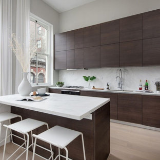 White Kitchen With Brown Cabinets