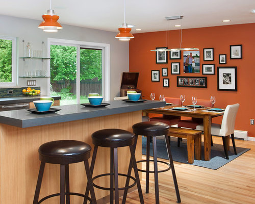 burnt orange accent wall | houzz