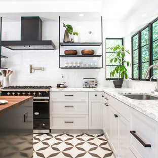 Great Transitional Kitchen Pictures   Kitchen   Transitional L Shaped Cement Tile  Floor And Multicolored Floor
