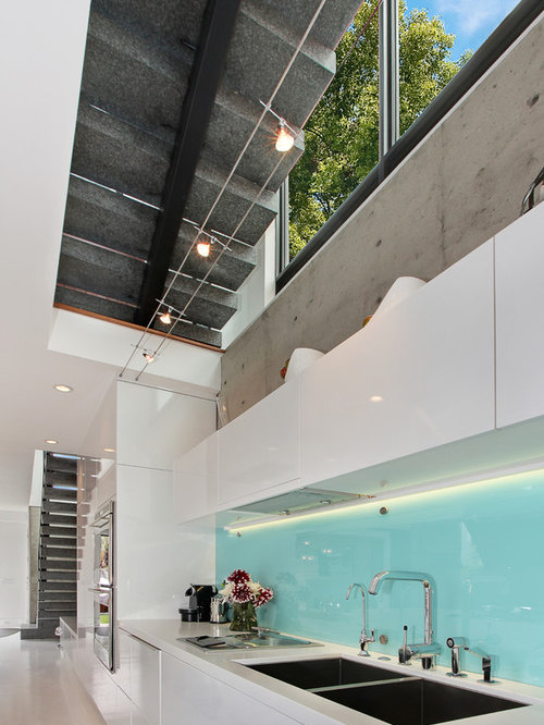 Inspiration For A Contemporary Open Concept Kitchen Remodel In Orange  County With A Double Bowl
