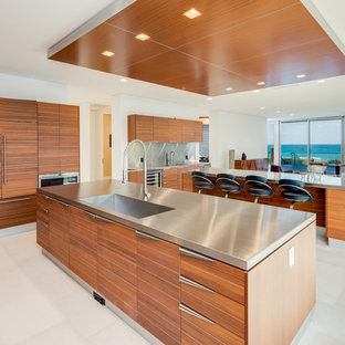 Contemporary Kitchen Ideas White Floor Idea In Miami With An Integrated