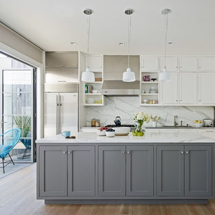 Transitional Medium Tone Wood Floor Kitchen Photo In San Francisco With Shaker Cabinets White