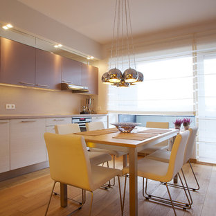 Contemporary eat-in kitchen pictures - Eat-in kitchen - contemporary single-wall eat-in kitchen idea with flat-panel cabinets