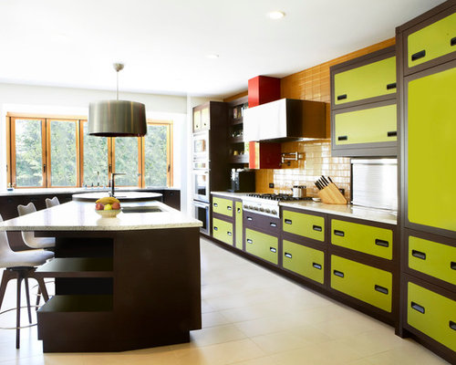 brown painted kitchen cabinets. Inspiration for an eclectic galley kitchen remodel in San Francisco with  green cabinets yellow backsplash Brown Painted Cabinet Houzz