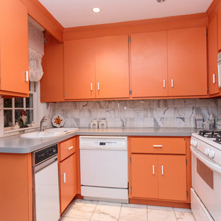 This is an example of a small eclectic u-shaped separate kitchen in Boston with a double-bowl sink, flat-panel cabinets, orange cabinets, multi-coloured splashback, white appliances, ceramic floors and multi-coloured floor.