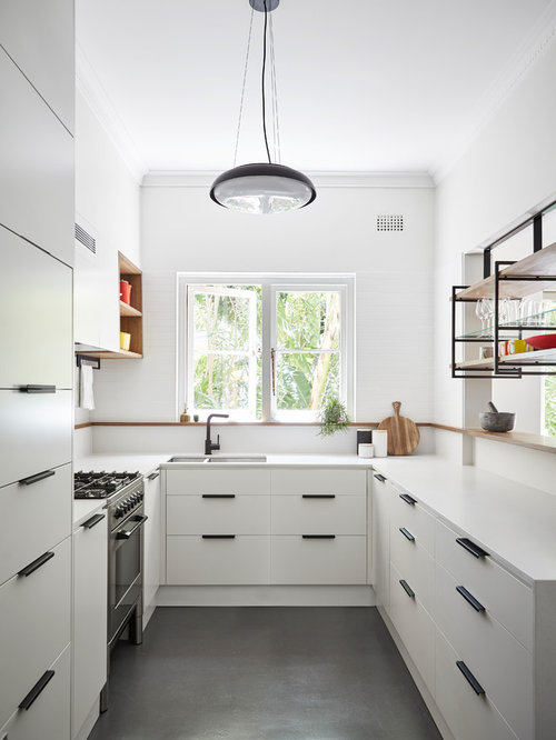 u shaped kitchen design. Small contemporary u shaped kitchen in Sydney with an undermount sink  flat panel U Kitchen Design Ideas Renovations Photos