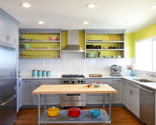 Yellow and gray kitchen ideas pictures remodel and decor for Cute yellow kitchen ideas