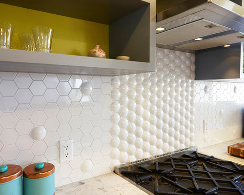 hexagon tile backsplash home design ideas pictures