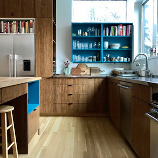 Contemporary kitchen inspiration - Kitchen - contemporary l-shaped light wood floor and beige floor kitchen idea in Other with flat-panel cabinets, medium tone wood cabinets, stainless steel countertops, white backsplash and an island