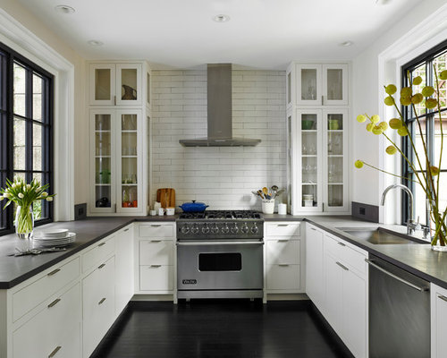 Flat Panel Cabinets White Cabinets White Backsplash Subway Tile