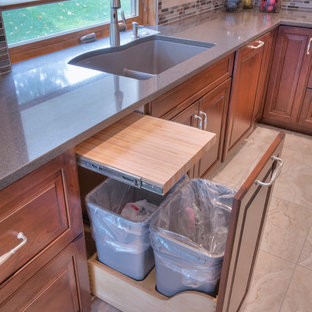 他の地域の大きいトランジショナルスタイルのおしゃれなキッチン (アンダーカウンターシンク、レイズドパネル扉のキャビネット、中間色木目調キャビネット、マルチカラーのキッチンパネル、モザイクタイルのキッチンパネル、パネルと同色の調理設備、セラミックタイルの床、再生ガラスカウンター) の写真