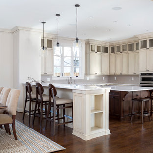 Mid-sized modern eat-in kitchen appliance - Inspiration for a mid-sized modern l-shaped dark wood floor and brown floor eat-in kitchen remodel in DC Metro with marble countertops, an island, shaker cabinets, beige cabinets, an undermount sink and stainless steel appliances