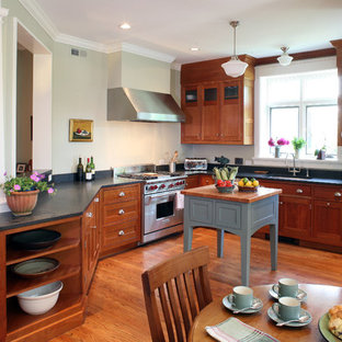 Mid-sized craftsman eat-in kitchen designs - Mid-sized arts and crafts u-shaped light wood floor and red floor eat-in kitchen photo in DC Metro with shaker cabinets, medium tone wood cabinets, black backsplash, paneled appliances, a double-bowl sink, soapstone countertops and an island