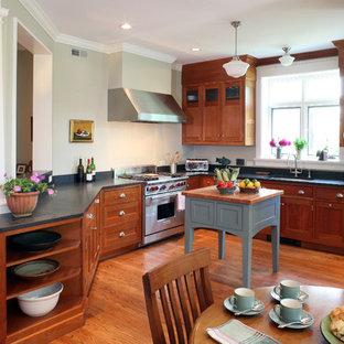 Удачное сочетание для дизайна помещения: п-образная кухня среднего размера в стиле кантри с обеденным столом, фасадами в стиле шейкер, фасадами цвета дерева среднего тона, черным фартуком, техникой под мебельный фасад, двойной раковиной, столешницей из талькохлорита, светлым паркетным полом, островом и красным полом - самое интересное для вас