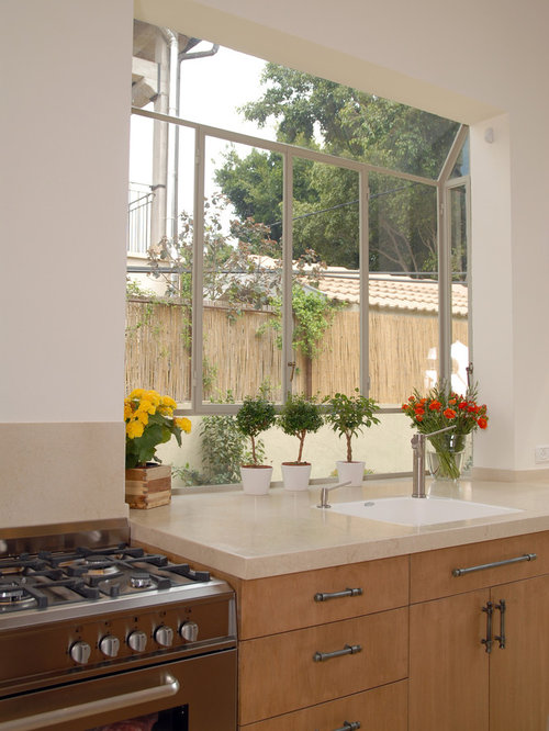 Greenhouse window houzz for Atrium white kitchen cabinets