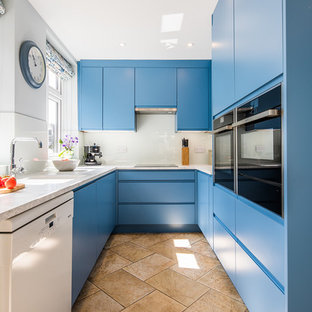 75 Beautiful Kitchen With Blue Cabinets And Laminate Countertops Pictures Ideas April 2021 Houzz