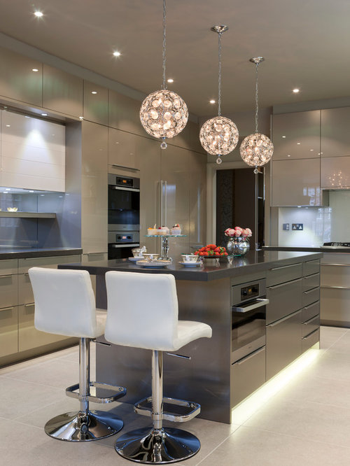 Large contemporary u-shaped ceramic floor kitchen idea in London with flat-panel cabinets & Pendant Lights For Kitchens | Houzz azcodes.com