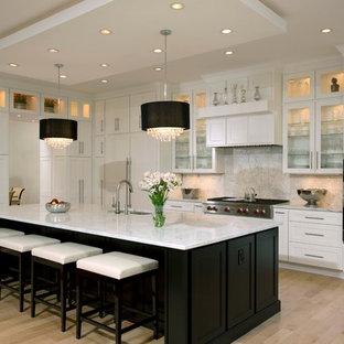 ワシントンD.C.の大きいコンテンポラリースタイルのおしゃれなキッチン (アンダーカウンターシンク、シェーカースタイル扉のキャビネット、白いキャビネット、大理石カウンター、マルチカラーのキッチンパネル、石スラブのキッチンパネル、シルバーの調理設備の、淡色無垢フローリング) の写真