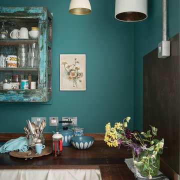 A kitchen painted in Vardo No.288 by Farrow & Ball
