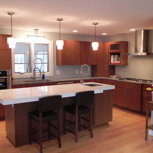 Large contemporary open concept kitchen pictures - Inspiration for a large contemporary l-shaped light wood floor and beige floor open concept kitchen remodel in Indianapolis with flat-panel cabinets, medium tone wood cabinets, a double-bowl sink, quartzite countertops, stainless steel appliances and an island
