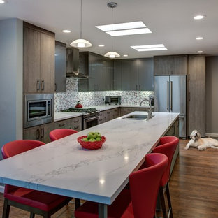 Mid-sized contemporary eat-in kitchen remodeling - Mid-sized trendy l-shaped medium tone wood floor eat-in kitchen photo in San Francisco with an undermount sink, flat-panel cabinets, gray cabinets, quartz countertops, red backsplash, porcelain backsplash, stainless steel appliances and an island