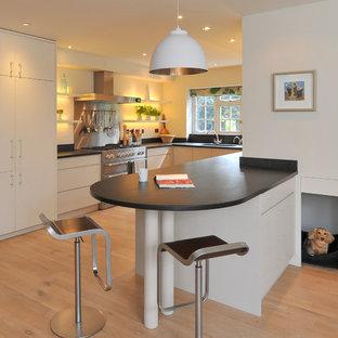 Ejemplo de cocina en U, actual, con armarios con paneles lisos y puertas de armario blancas