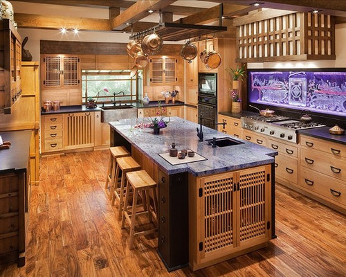 Interior Japanese Kitchen Cabinets japanese kitchen houzz example of a large u shaped medium tone wood floor enclosed design in los